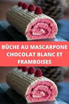 White chocolate and raspberry mascarpone log - Page 2 - All Recipes - Pâtisserie - Desserts Easy Cheesecake Recipes, Homemade Cake Recipes, Dessert Recipes, Pear Cake, Cake Recipes From Scratch, Salty Cake, Mousse Cake, Food Cakes, Savoury Cake