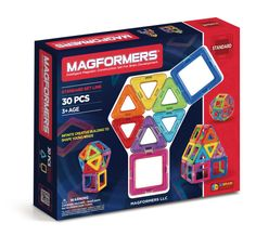 Magformers Rainbow Set (30 PCS) - Create 3D structures from 2D nets with the award winning Rainbow 30Pc Set. Arriving with squares and triangles that are perfect for little fingers to start building a 'magic ball', houses, towers and much more! See what your imagination will create! Each geometric shape contains magnets that never reject, so you'll always hear the MAGFORMERS® click. When playtime is over, use the magnetic power to simply stack and store.