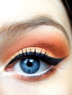 This is the perfect eye make up for a flamingo! Love Makeup, Makeup Tips, Beauty Makeup, Makeup Looks, Hair Makeup, Hair Beauty, Peach Makeup, Orange Makeup, Orange Eyeshadow