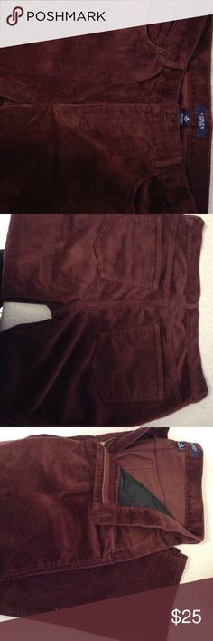 """Chaps 5 pocket purple maroon corduroy pants Thick and warm - yet soft and comfortable - corduroy pants in maroon. Great condition, never worn. In Soft cotton corduroy, this straight-fitting pant features a hint of stretch that provides comfort and maintains a sleek silhouette. Pair it with a plush sweater for a quintessential cool weather look. Featured in maroon, this Midrise straight fit inseam is approximately 32"""" Belt loops Zip fly with signature shank closure Five-pocket styling with…"""