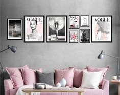 Fashion Wall Art Set Of 8 Vogue Posters Chanel Prints Boutique Interior, My Living Room, My Room, Fashion Wall Art, Fashion Prints, Chanel Art, Wall Decor, Room Decor, Vogue Covers