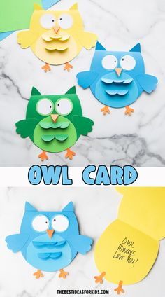 Owl Card Craft - such a cute craft for kids! Perfect for preschool or kindergarten too! Get the free template on the post.