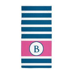 Monogram Pink White Stripes Beach Towel