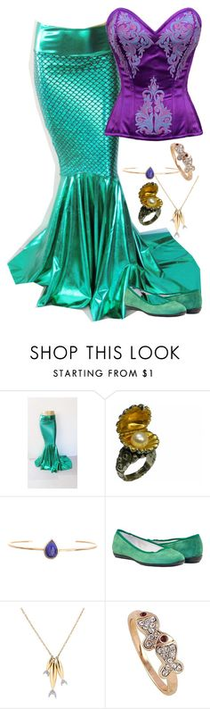 """""""Halloween Costume: The Little Mermaid: Ariel"""" by secretsoftheslytherin ❤ liked on Polyvore featuring Russell Lownsbrough, Ariel Gordon, India Hicks, Halloween, 60secondstyle and disneycharactercostume"""
