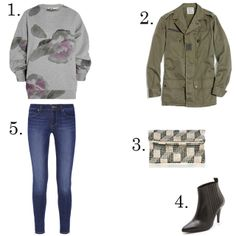 1. Acne sweatshirt, $290, netaporter.com 2. Share With...Vintage military jacket, $162, madewell.com 3. Coast beaded bag, $90, coast.andotherbrands.com 4. Won Hundred boots, $325, shopbop.com 5. Paige jeans, $189, netaporter.com
