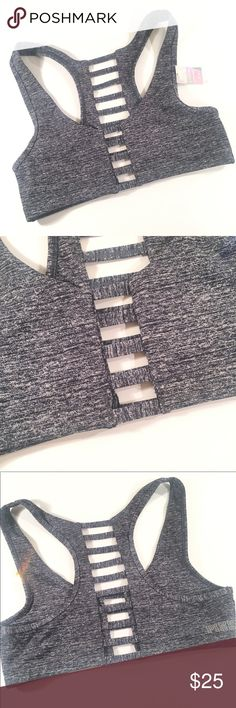 NWT Victoria's Secret PINK Grey Cage Sports Bra NWT. Size small, fits tight for a small. Case detailing on the front and back of sports bra. PINK Victoria's Secret Intimates & Sleepwear Bras