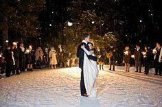 A snowy first dance on the ice rink at Baker Creek.
