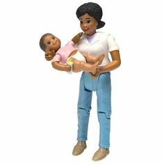 Loving Family African American Mom and Baby by Fisher-Price. Save 17 Off!. $9.99. Amazon.com                Squeeze Mom's knees and she rocks the baby! These smiling,  nicely detailed figures make playing house more fun--with or without a  dollhouse. Just under 6 inches tall, Mom is casually dressed for  housework, barbecues, or a shopping trip. Jointed at knees and hips,  she stands and sits without support. Her head turns, and her arms are  jointed at the shoulders to move forward and ...