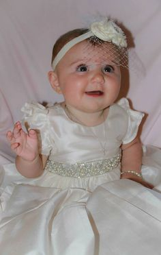 SILK Christening Gown Baptism Gown with Exquisite by Caremour, $97.00