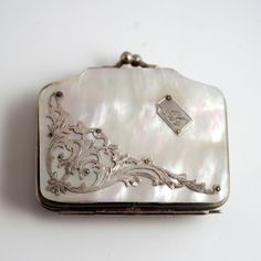 A Darling Little 19c French Debutante or Doll's Purse in Silver and Mother of Pearl.
