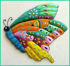 Butterfly Metal Wall Art - Metal Wall Hanging - Hand Painted Metal Outdoor Yard Art, Garden Decor - Butterflies, Tropical Design  J-0904- TQ