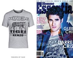 Darren Criss covers the January / February 2013 issue of Essential Homme, January, 2013  Kenzo Grey Tiger T-Shirt -