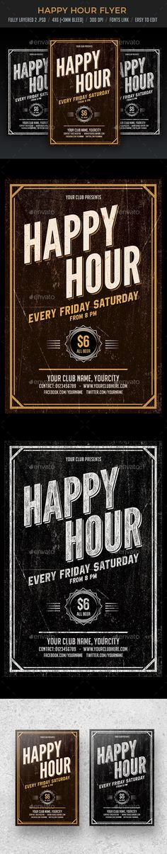 Happy Hour #Flyer - Flyers Print Templates