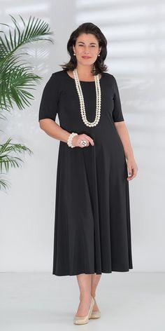 Q'neel black silky jersey dress