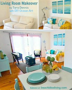Give your home a soothing beach vibe with easy DIY ocean canvas art! Designer Tara Dennis shows you how to create a stunning ocean triptych in a step by step . Read moreCreate a Soothing Beach Vibe with Easy DIY Ocean Canvas Art Ocean Canvas, Ocean Art, Canvas Art, Beach Cottage Style, Beach Cottage Decor, Ocean Bathroom Decor, Bathroom Red, Bathroom Ideas, Abstract Ocean Painting