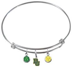 Baylor Bears Expandable Wire Charm Bracelet Bangle w/ Team Color Crystals -- Awesome products selected by Anna Churchill