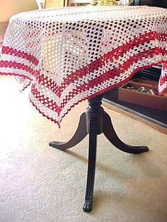 Vintage Red and White Crocheted Tablecloth by mysouthernlace, $35.00