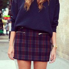 More polished grunge inspired look with this tartan mini x Discover and share…