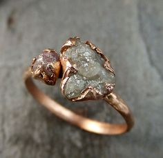 Raw Pink Diamond Rose Gold Engagement Ring Wedding Ring Custom One Of a Kind…
