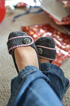 crochet slippers with rose buttons