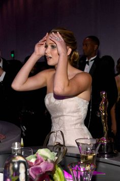"""On Hugh Jackman leaping to his feet to help her up after she tripped at the Oscars: He did? Are you lying to me? Oh my God! And its on-camera? I didnt know because I was so in my cloud of, like, I want to die. I had no idea. That actually fixes the whole moment. Anybody who makes fun of me [for falling], I'm just gonna go, 'Yeah, and then I got touched by Hugh Jackman."""""""