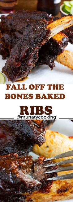 Fall off the bone ribs. In this post I share a recipe for a juicy and tender fall off the bone ribs I also share the recipes of my rub mix and homemade quick BBQ sauce. Learn how to bake fall off the bone ribs the easiest and the most flavorful way. Baked Beef Ribs, Oven Pork Ribs, Beef Ribs Recipe, Pork Rib Recipes, Ribs On Grill, Grilling Recipes, Cooking Recipes, Prime Rib Bones Recipe, Beef Rib Fingers Recipe