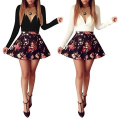 Cheap dress africa, Buy Quality mini dress black directly from China mini dress tights Suppliers: Women Summer Sexy Low V-Neck Dress Long Sleeve Floral Mini Dress This sexy fashion mini dress features v-neck and flor