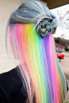 18 Mesmerizing Hidden Rainbow Hair Hidden rainbow hair is the new trend of Secret rainbow hair tresses allow you to be daring and switch to modest whenever you want. This versatile trend is great to experiment with! Hidden Rainbow Hair, Pelo Multicolor, Dyed Hair Pastel, Coloured Hair, Dye My Hair, Cool Hair Color, Hidden Hair Color, Crazy Hair, Pretty Hairstyles