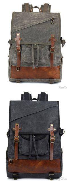 Leisure Oblique Zipper Men's Outdoor Waterproof Large Double Belt Retro Travel Canvas Backpack for big sale! #Backpack #Bag #canvas #travel #rucksack #college #waterproofcanvasoutdoor