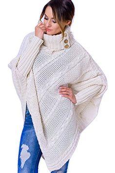 Women's Polo Neck Knit Warm Poncho Jumper Sweater (Brown) Fancy That Clothing http://www.amazon.co.uk/dp/B01D53LT12/ref=cm_sw_r_pi_dp_1nf7wb1CVRJH5