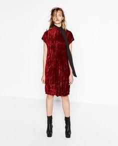 CRUSHED VELVET DRESS-DRESSES-WOMAN   ZARA United States