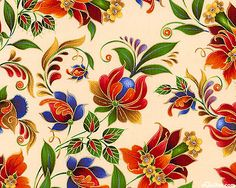 Kiev 2 - Russian Folk Floral - Cream/Gold