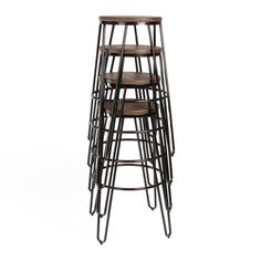 Carbon Loft Hall Backless Two-tone Wood and Metal Bar Stools (Set of (Black - x x - Satin - Wood - Bar Height - in. 30 Bar Stools, Metal Bar Stools, Counter Stools, Contemporary Bar Stools, Contemporary Interior, Kitchen Wall Colors, Mid Century Modern Decor, Simple Colors, Cool Bars