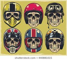 Set of hand drawing skulls wearing various of motorcycle helmet Skull Helmet, Helmet Tattoo, Helmet Logo, Biker Tattoos, Motorcycle Tattoos, Motorcycle Helmets, Vintage Photographs, Vintage Images, Vespa Logo