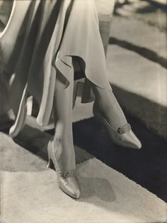 Satin pumps with Louis XV heels and enamel and rhinestone buckles, designed by Hellstern, 1930. Photo by George Hoyningen-Huene.