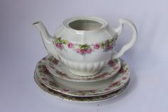 Miniature teapot saucer & two plates rose by redrococogarden