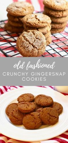 This recipe for Old-Fashioned Crunchy Gingersnap Cookies from scratch is easy to make. The cookies are the best, with a strong ginger flavor and are full of dark, sweet, pungent molasses, and warm aromatic spices including cloves and cinnamon. New Year's Desserts, Cute Desserts, Christmas Desserts, Dessert Recipes, Christmas Cookies, Quick Dessert, Dessert Ideas, Christmas Ideas, Easy Homemade Cookies