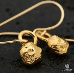 Gold Nugget Dangle Earrings, 18k gold plated - small dangle earrings, textured, rock, stone, ball, unique earrings, handmade