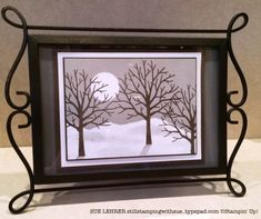 Framed winter scene using Sheltering Tree stamp set from Stampin' Up!