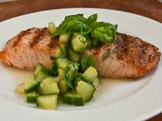 Grilled salmon with Thai cucumber salad..sounds like it would be really simple and full of flavor!