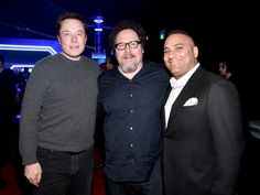 Elon Musk, actor-director Jon Favreau, and comedian Russell Peters attend the…