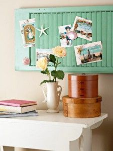 I think this is such a cute idea... Recycling an old shutter (or just buying a new one!!!!) and using it as a keepsake holder...
