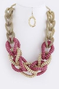 FANTASY CHUNKY GOLD PINK NECKLACE SET |Bozz Diva Fantasy Woman Jewelry bozzdiva.com