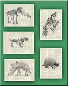 Dinosaur Prehistoric Animal Skeletons Print vintage by PrintLand, $32.00