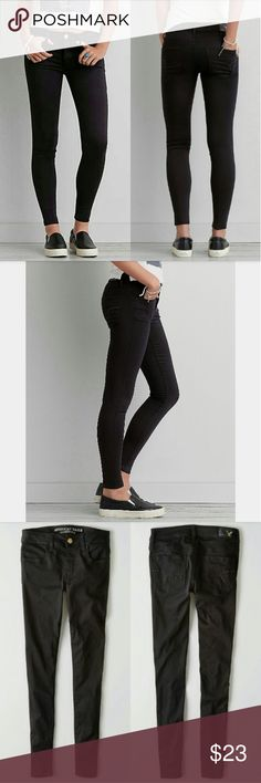 """🆕List AEO Super Super Stretch Sateen Jeggings ✳American Eagle Outfitters ✳Super Super Stretch Sateen Jeggings ✳Jet Onyx Black ✳Lightweight, high performace stretch for comfort ✳Super soft, lightweight sateen for comfort fit ✳Low 8 3/4"""" rise ✳13 7/8"""" back rise ✳10"""" leg opening for jegging-like fit ✳60% Cotton, 27% Polyester, 12% Viscose, 1% Elastane ✳Size 2 Short ✳Some wear/slight fading but still looks  great when worn! (pics 4-8)  Stock photos exact as listing.  ☑OFFERS WELCOMED☑ ☑BUNDLE…"""