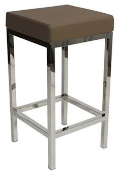 """Albany"" Stainless Steel Frame Backless Padded Bar Stool in Taupe - AU$119 - https://www.simplybarstools.com.au/products/albany-stainless-steel-frame-backless-padded-bar-stool-in-taupe – Simply Bar Stools  - steel, backless, fixed leg, bar stools. #Australia #Furniture"