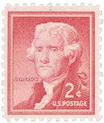 1954 2c Thomas Jefferson, President of the United States, Catalog # 1033