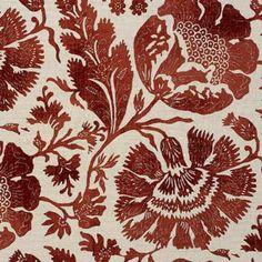 G P & J Baker POPPIES BRICK/L Fabric