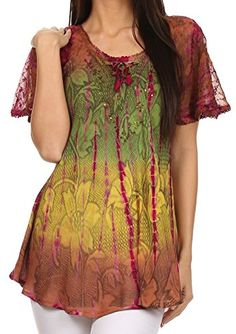 Sakkas 14783 - Dina Relaxed Fit Sequin Tie Dye Embroidery Cap Sleeves Blouse / Top - Brown - OS Sakkas http://www.amazon.co.uk/dp/B00UF7YI2Y/ref=cm_sw_r_pi_dp_SXgXwb1WJ4X29
