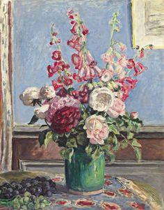 Albert André (French, 1869-1954), Bouquet de roses et digitales [Bouquet of roses and foxgloves], 1924. Oil on canvas, 65 x 51.5 cm.